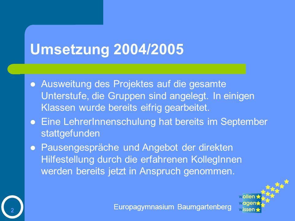 2 Umsetzung 2004/2005 Ausweitung des Projektes auf die gesamte Unterstufe, die Gruppen sind angelegt.