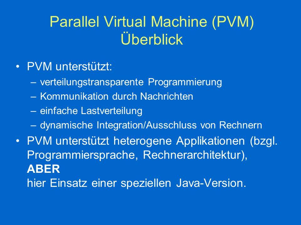 Parallel Virtual Machine (PVM) Überblick PVM unterstützt: –verteilungstransparente Programmierung –Kommunikation durch Nachrichten –einfache Lastverteilung –dynamische Integration/Ausschluss von Rechnern PVM unterstützt heterogene Applikationen (bzgl.