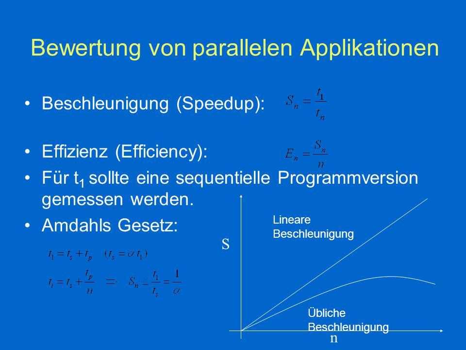 Bewertung von parallelen Applikationen Beschleunigung (Speedup): Effizienz (Efficiency): Für t 1 sollte eine sequentielle Programmversion gemessen werden.