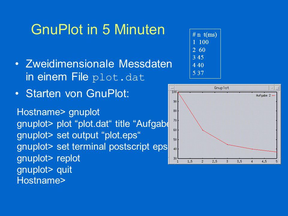 GnuPlot in 5 Minuten # n t(ms) 1 100 2 60 3 45 4 40 5 37 Zweidimensionale Messdaten in einem File plot.dat Starten von GnuPlot: Hostname> gnuplot gnuplot> plot plot.dat title Aufgabe2 gnuplot> set output plot.eps gnuplot> set terminal postscript eps gnuplot> replot gnuplot> quit Hostname>