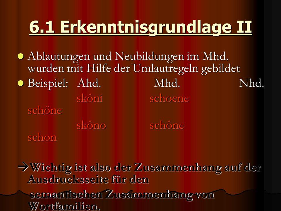 6.1 Erkenntnisgrundlage II Ablautungen und Neubildungen im Mhd. wurden mit Hilfe der Umlautregeln gebildet Ablautungen und Neubildungen im Mhd. wurden