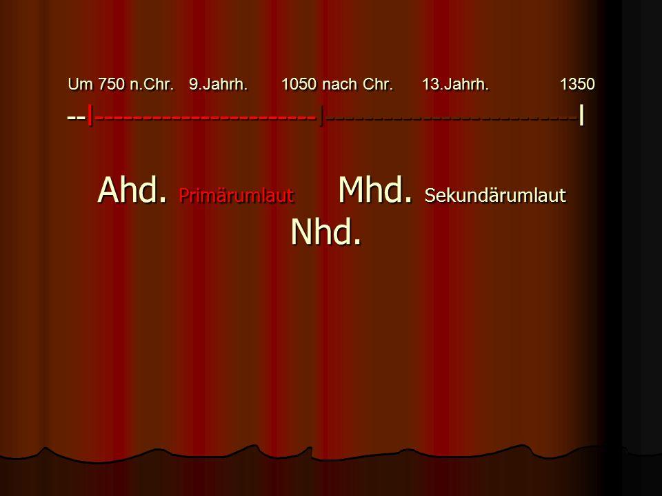 2.1 Zeittafel zur Orientierung Um 750 n.Chr. 9.Jahrh. 1050 nach Chr. 13.Jahrh. 1350 --I-----------------------I--------------------------I Ahd. Primär