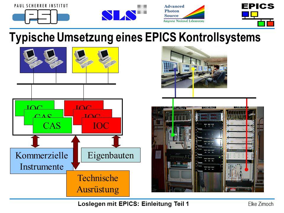 Loslegen mit EPICS: Einleitung Teil 1 Elke Zimoch Typische Umsetzung eines EPICS Kontrollsystems Kommerzielle Instrumente IOC CAS Eigenbauten Technisc