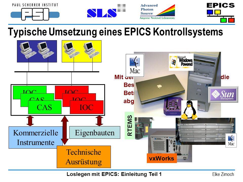 Loslegen mit EPICS: Einleitung Teil 1 Elke Zimoch Mit dem EPICS Release 3.14 wurden die Beschränkungen für das Betriebssystem von iocCore abgeschafft.