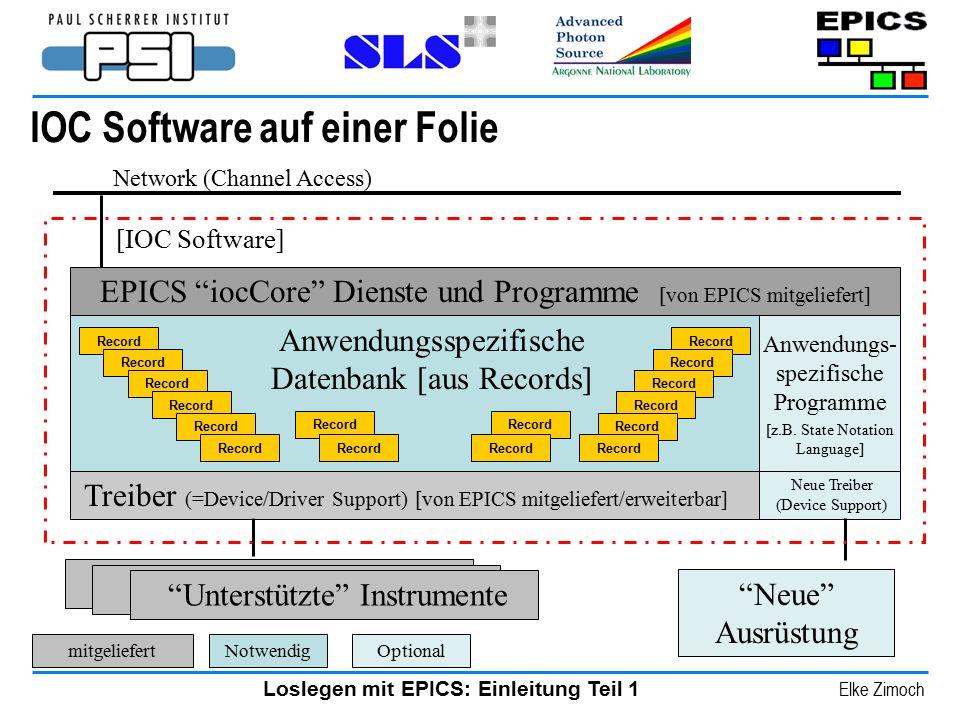 """Loslegen mit EPICS: Einleitung Teil 1 Elke Zimoch IOC Software auf einer Folie Network (Channel Access) """"Neue"""" Ausrüstung [IOC Software] Treiber (=Dev"""