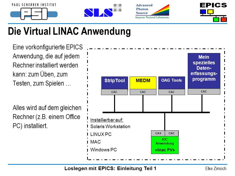 Loslegen mit EPICS: Einleitung Teil 1 Elke Zimoch Die Virtual LINAC Anwendung Eine vorkonfigurierte EPICS Anwendung, die auf jedem Rechner installiert