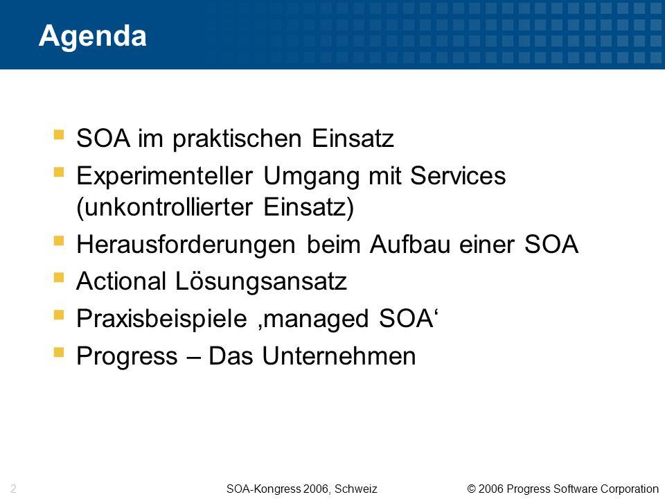 SOA-Kongress 2006, Schweiz © 2006 Progress Software Corporation 13 Herausforderungen beim Umgang mit Web Services  Definition von Security Policies (basierend auf den neuesten Web Services Security Standards)  Definieren, Ausführen und Monitoren von Service Level Agreements (SLAs)  Garantieren der Service Verfügbarkeit  Einfluss bei Änderungen von Services minimieren (impact management)