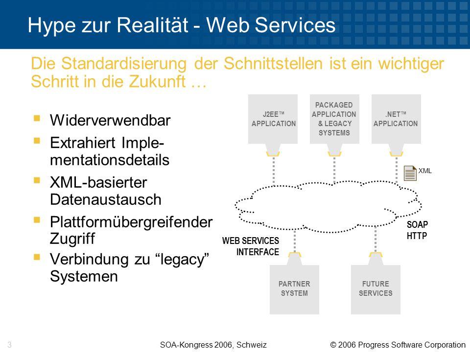 SOA-Kongress 2006, Schweiz © 2006 Progress Software Corporation 14 Wie packen wir diese Probleme an.