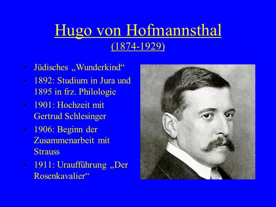 """Hugo von Hofmannsthal (1874-1929) Jüdisches """"Wunderkind 1892: Studium in Jura und 1895 in frz."""