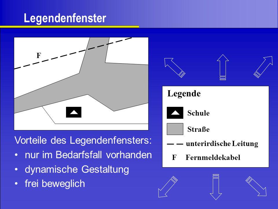 Legendenfenster F Vorteile des Legendenfensters: nur im Bedarfsfall vorhanden dynamische Gestaltung frei beweglich Legende Schule Straße unterirdische