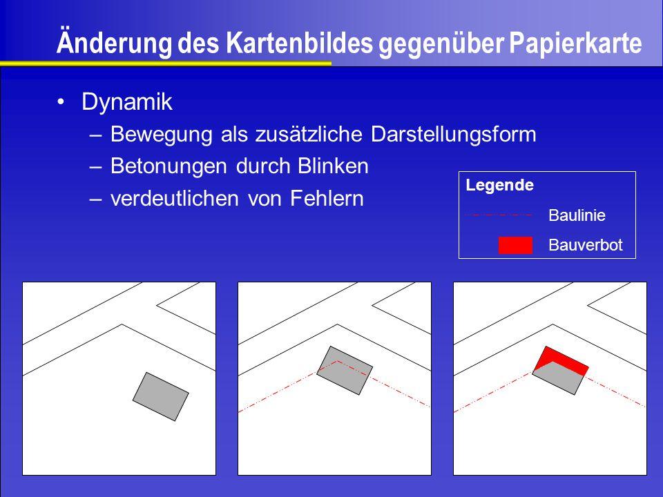 Änderung des Kartenbildes gegenüber Papierkarte –Bewegung als zusätzliche Darstellungsform –Betonungen durch Blinken –verdeutlichen von Fehlern Legend
