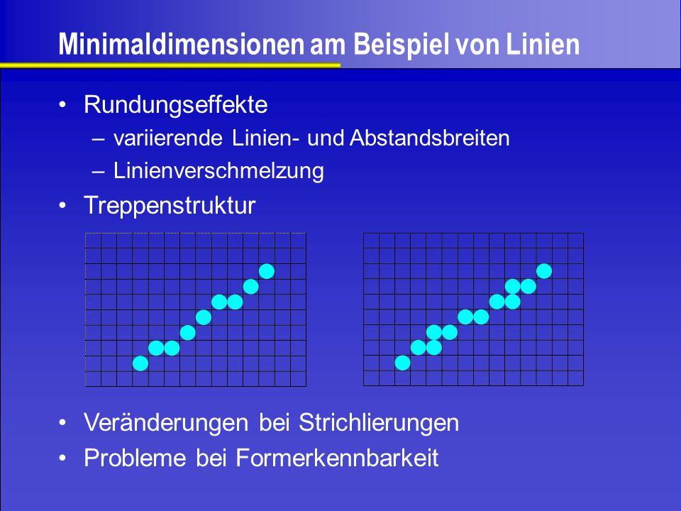 Treppenstruktur –variierende Linien- und Abstandsbreiten –Linienverschmelzung Minimaldimensionen am Beispiel von Linien Rundungseffekte Veränderungen