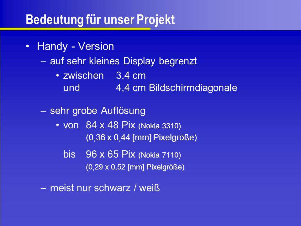 Bedeutung für unser Projekt Handy - Version –auf sehr kleines Display begrenzt zwischen3,4 cm und 4,4 cm Bildschirmdiagonale –sehr grobe Auflösung von