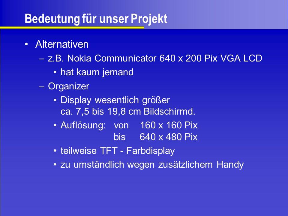 Bedeutung für unser Projekt Alternativen –z.B. Nokia Communicator 640 x 200 Pix VGA LCD hat kaum jemand –Organizer Display wesentlich größer ca. 7,5 b