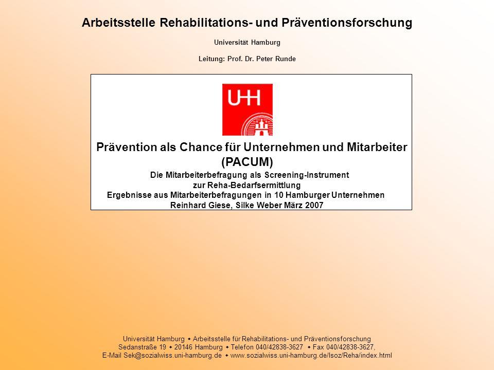 Arbeitsstelle Rehabilitations- und Präventionsforschung Universität Hamburg Leitung: Prof. Dr. Peter Runde Prävention als Chance für Unternehmen und M