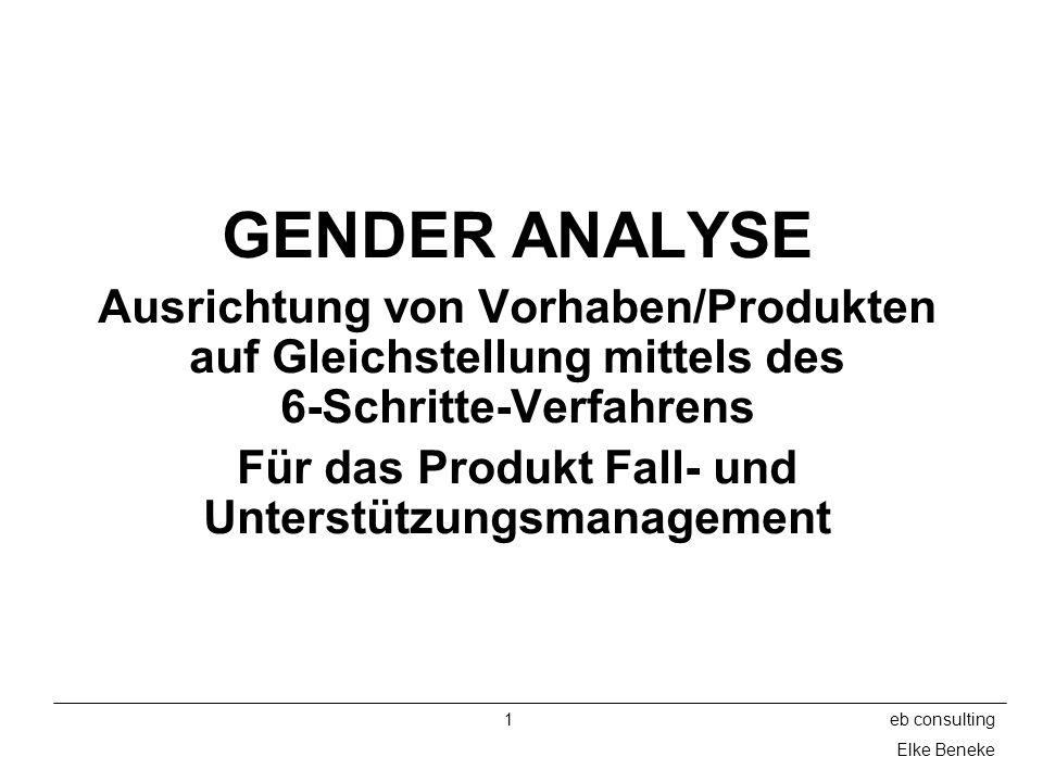 2eb consulting Elke Beneke Besprechungspunkte Einführung ins Gender Mainstreaming Einführung in das 6-Schritte-Verfahren Einführung in die 4-R-Methode Durchführung einer Gender Analyse