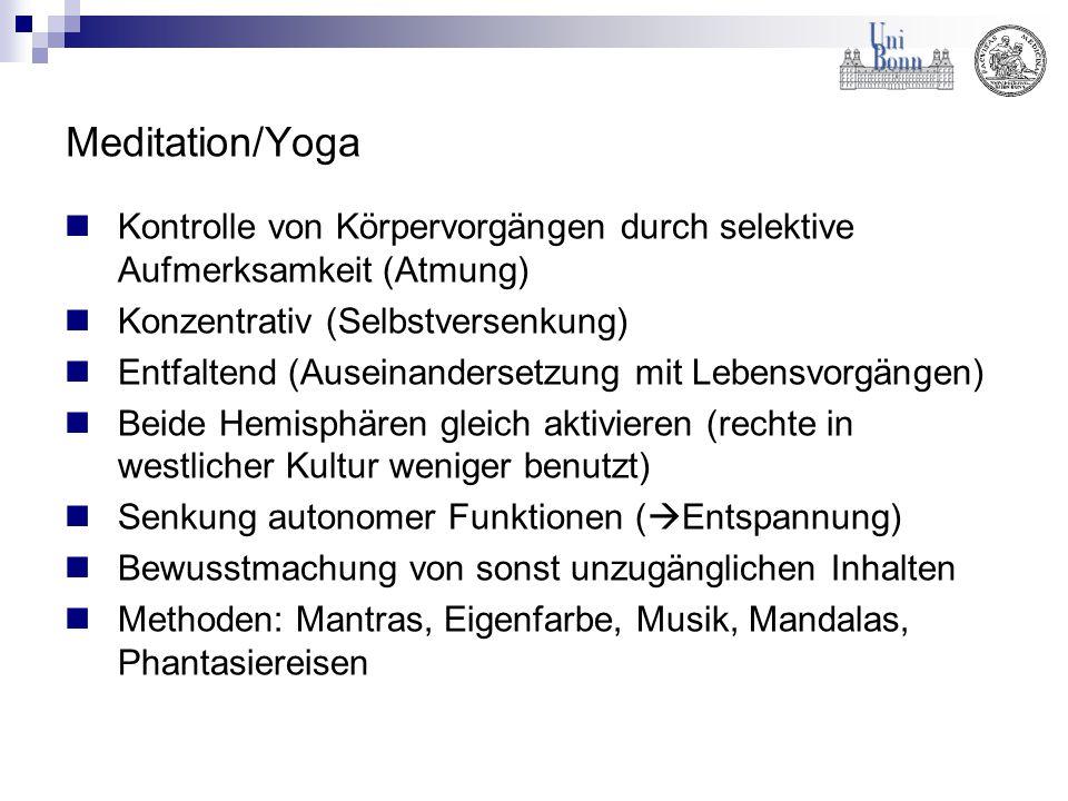 Meditation/Yoga Kontrolle von Körpervorgängen durch selektive Aufmerksamkeit (Atmung) Konzentrativ (Selbstversenkung) Entfaltend (Auseinandersetzung m