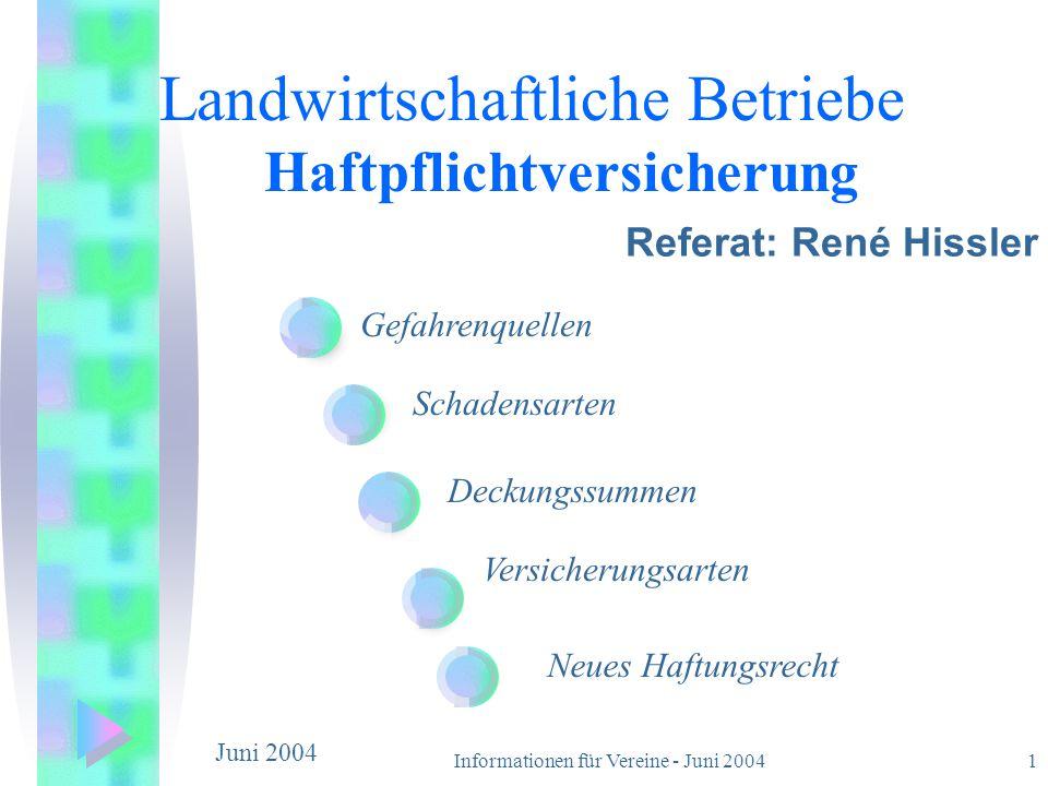 Informationen für Vereine - Juni 20041 Gefahrenquellen Schadensarten Deckungssummen Versicherungsarten Neues Haftungsrecht Landwirtschaftliche Betrieb