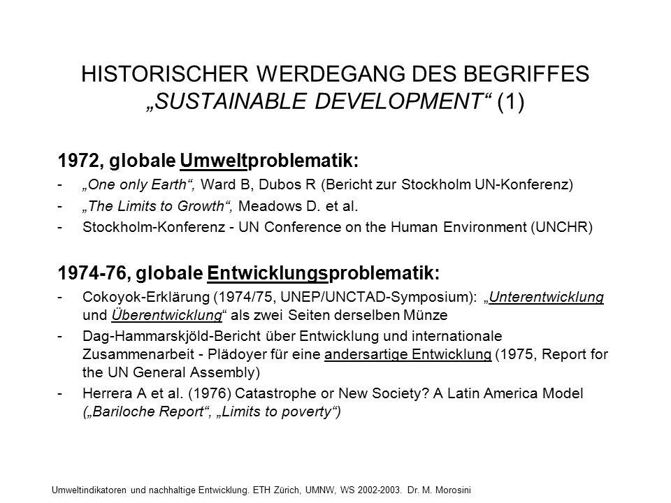 """Umweltindikatoren und nachhaltige Entwicklung. ETH Zürich, UMNW, WS 2002-2003. Dr. M. Morosini HISTORISCHER WERDEGANG DES BEGRIFFES """"SUSTAINABLE DEVEL"""