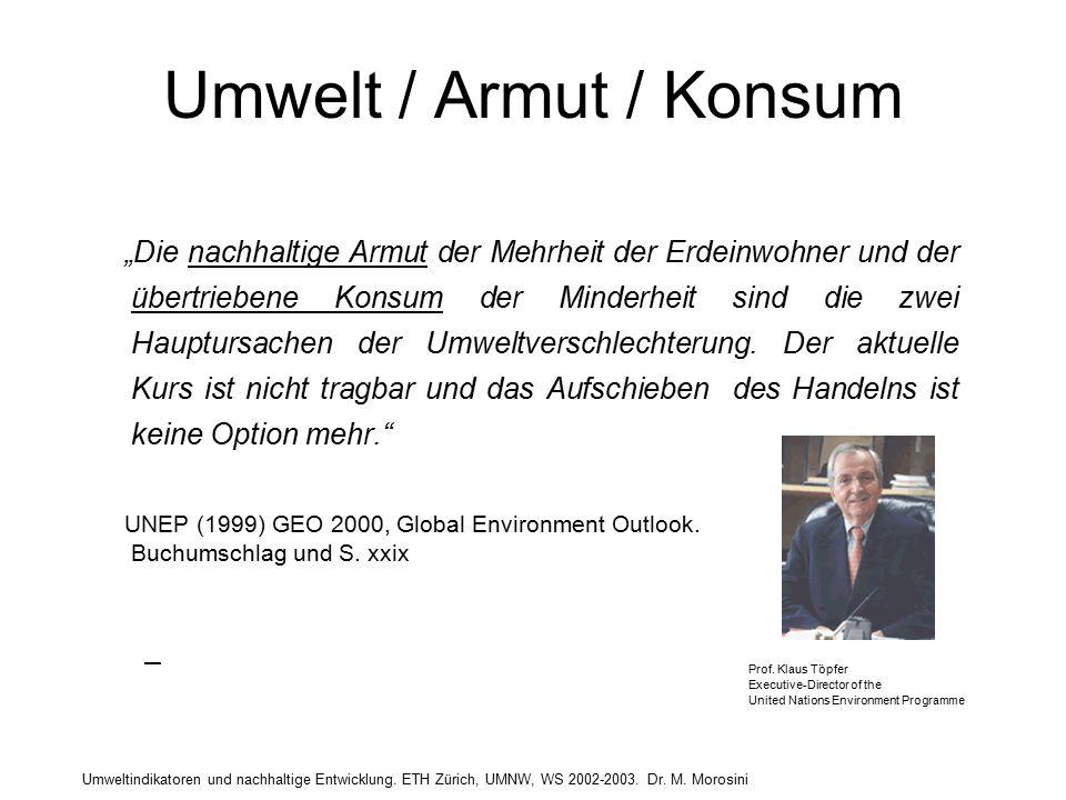 """Umweltindikatoren und nachhaltige Entwicklung. ETH Zürich, UMNW, WS 2002-2003. Dr. M. Morosini Umwelt / Armut / Konsum """"Die nachhaltige Armut der Mehr"""