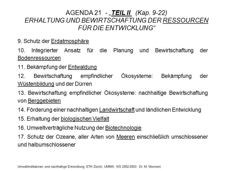 """Umweltindikatoren und nachhaltige Entwicklung. ETH Zürich, UMNW, WS 2002-2003. Dr. M. Morosini AGENDA 21 - """"TEIL II (Kap. 9-22) ERHALTUNG UND BEWIRTSC"""