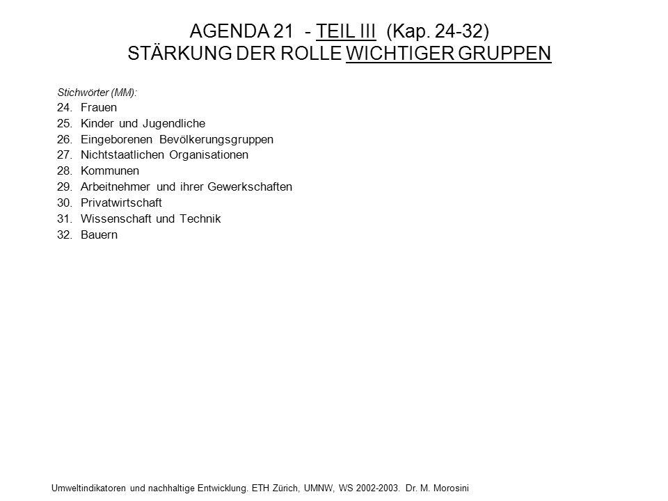 Umweltindikatoren und nachhaltige Entwicklung. ETH Zürich, UMNW, WS 2002-2003. Dr. M. Morosini AGENDA 21 - TEIL III (Kap. 24-32) STÄRKUNG DER ROLLE WI