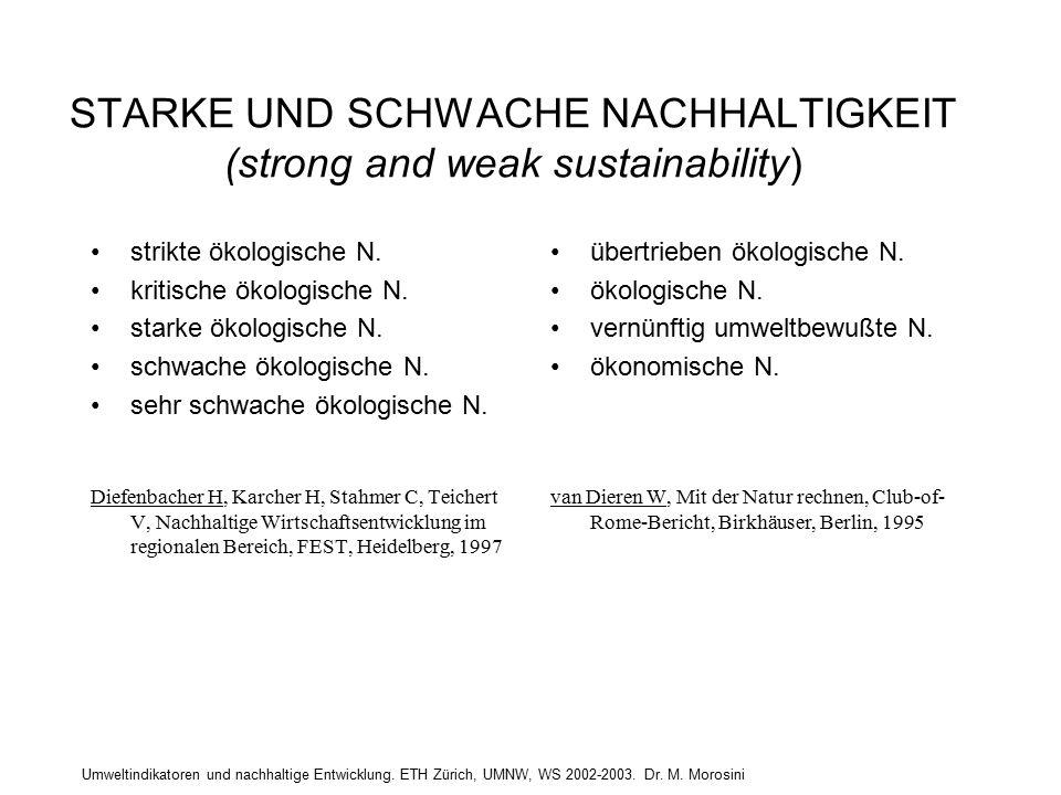 Umweltindikatoren und nachhaltige Entwicklung. ETH Zürich, UMNW, WS 2002-2003. Dr. M. Morosini STARKE UND SCHWACHE NACHHALTIGKEIT (strong and weak sus