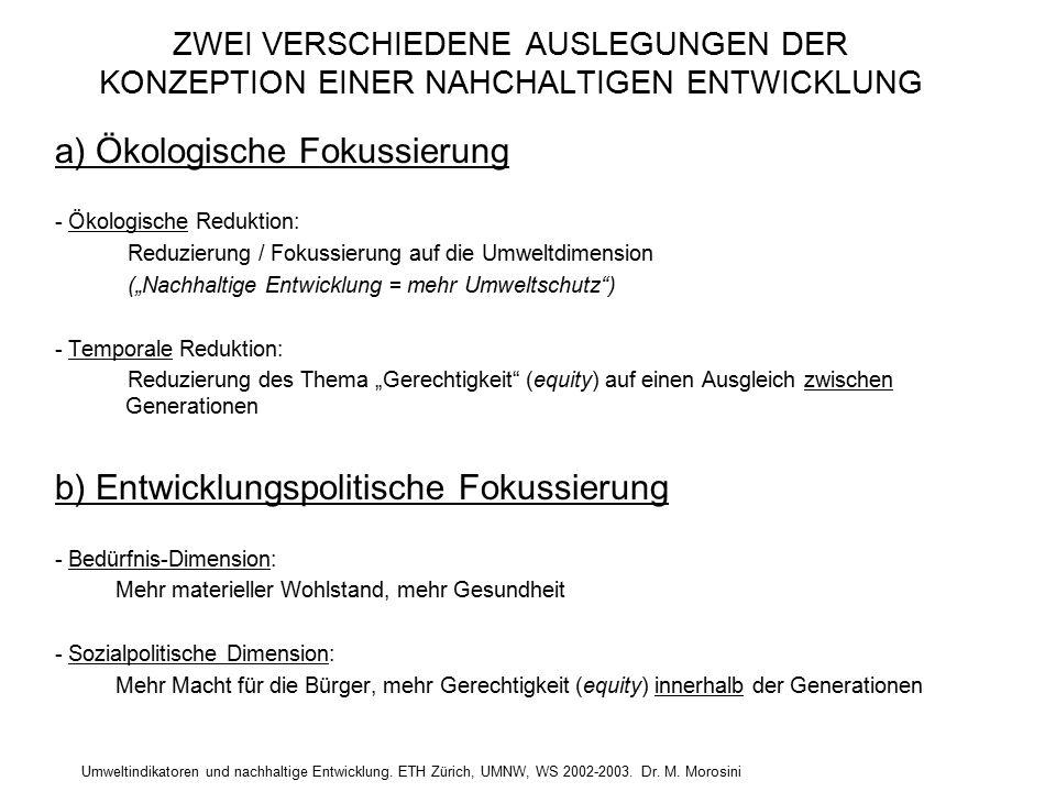 Umweltindikatoren und nachhaltige Entwicklung. ETH Zürich, UMNW, WS 2002-2003. Dr. M. Morosini ZWEI VERSCHIEDENE AUSLEGUNGEN DER KONZEPTION EINER NAHC