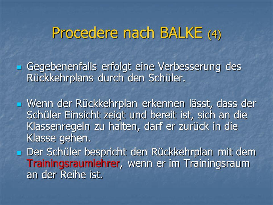 Procedere nach BALKE (4) Gegebenenfalls erfolgt eine Verbesserung des Rückkehrplans durch den Schüler. Gegebenenfalls erfolgt eine Verbesserung des Rü