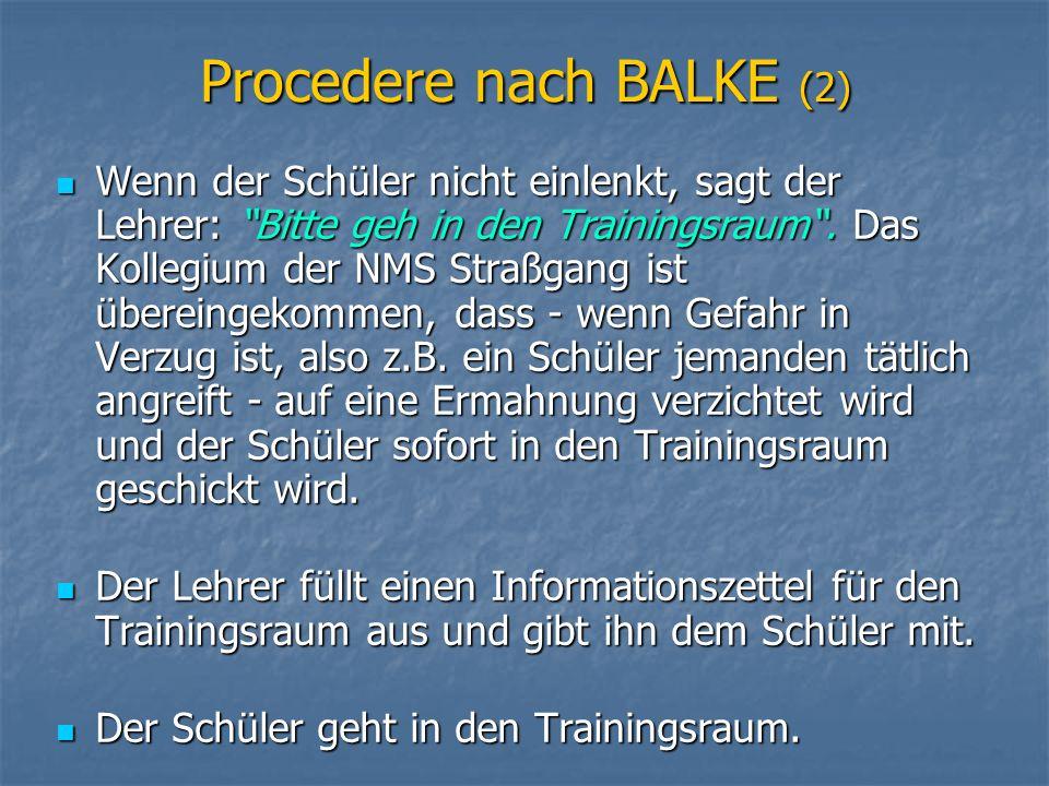 Procedere nach BALKE (3) Der Schüler gibt den Informationszettel im Trainingsraum ab.