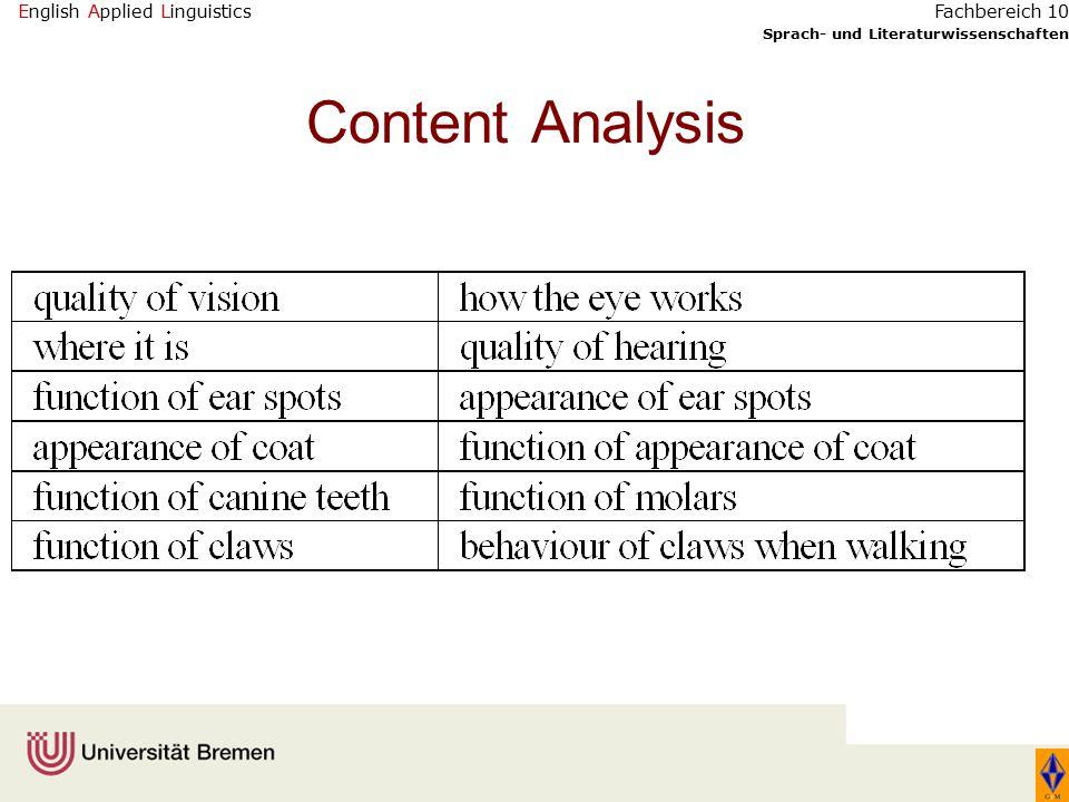 English Applied Linguistics Sprach- und Literaturwissenschaften Fachbereich 10 Content Analysis