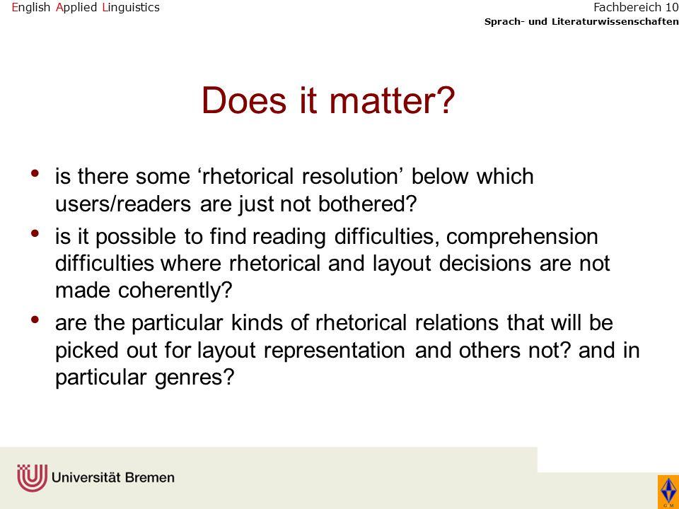 English Applied Linguistics Sprach- und Literaturwissenschaften Fachbereich 10 Does it matter.