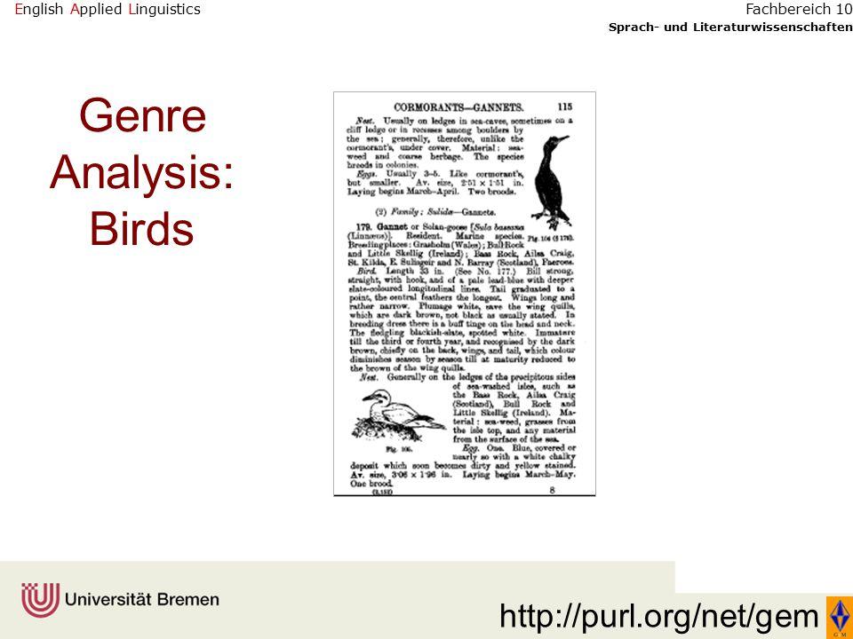 English Applied Linguistics Sprach- und Literaturwissenschaften Fachbereich 10 Genre Analysis: Birds http://purl.org/net/gem