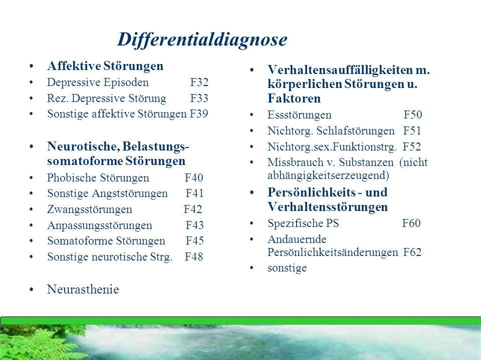 Differentialdiagnose Affektive Störungen Depressive Episoden F32 Rez. Depressive Störung F33 Sonstige affektive Störungen F39 Neurotische, Belastungs-
