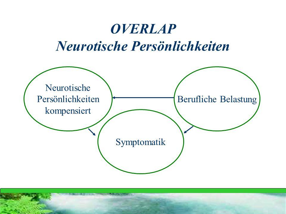OVERLAP Neurotische Persönlichkeiten Neurotische Persönlichkeiten kompensiert Symptomatik Berufliche Belastung