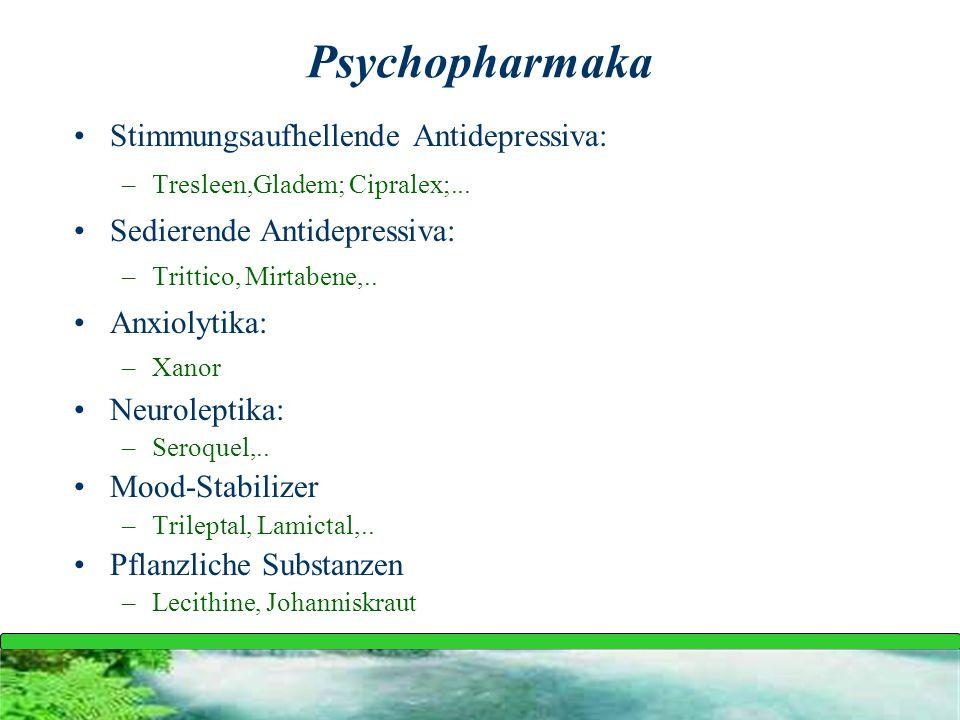 Psychopharmaka Stimmungsaufhellende Antidepressiva: –Tresleen,Gladem; Cipralex;... Sedierende Antidepressiva: –Trittico, Mirtabene,.. Anxiolytika: –Xa