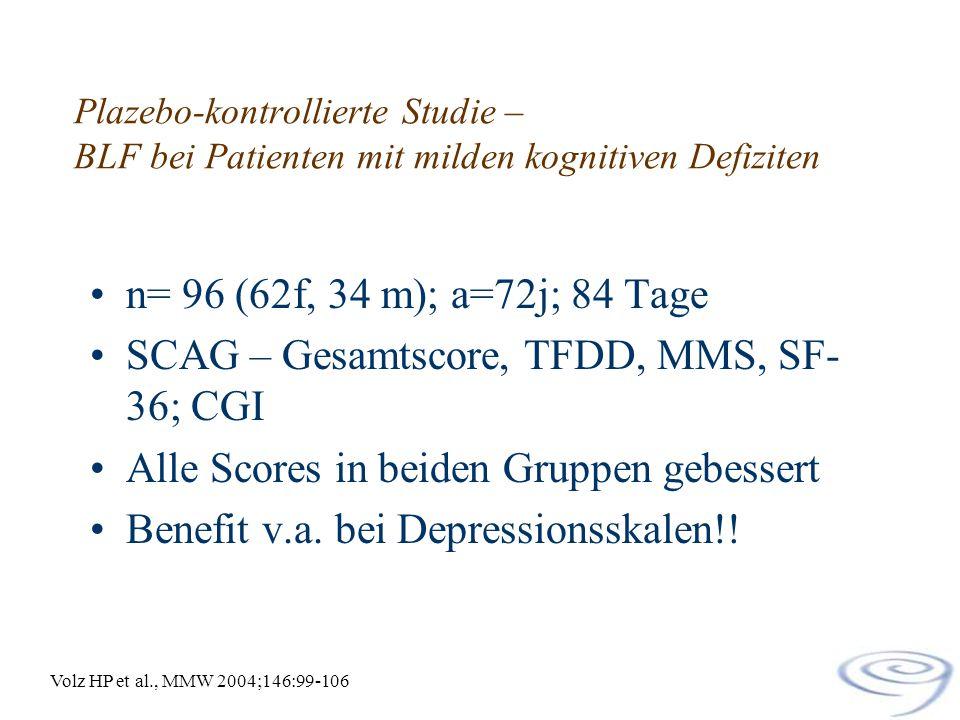 Plazebo-kontrollierte Studie – BLF bei Patienten mit milden kognitiven Defiziten n= 96 (62f, 34 m); a=72j; 84 Tage SCAG – Gesamtscore, TFDD, MMS, SF-