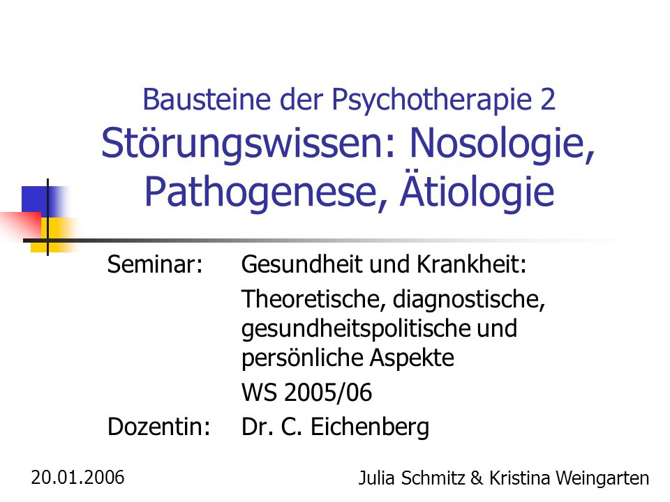 Bausteine der Psychotherapie 2 Störungswissen: Nosologie, Pathogenese, Ätiologie Seminar:Gesundheit und Krankheit: Theoretische, diagnostische, gesundheitspolitische und persönliche Aspekte WS 2005/06 Dozentin: Dr.