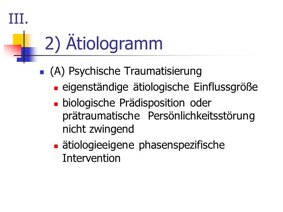 (A) Psychische Traumatisierung eigenständige ätiologische Einflussgröße biologische Prädisposition oder prätraumatische Persönlichkeitsstörung nicht zwingend ätiologieeigene phasenspezifische Intervention III.