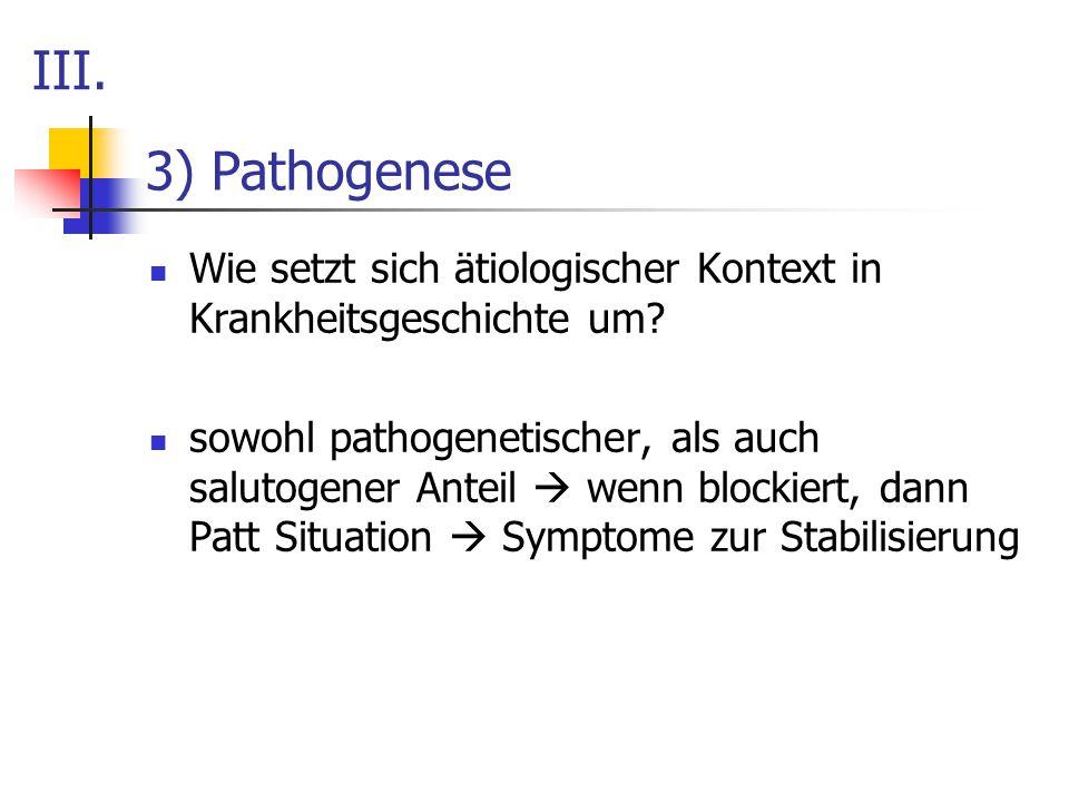 3) Pathogenese Wie setzt sich ätiologischer Kontext in Krankheitsgeschichte um? sowohl pathogenetischer, als auch salutogener Anteil  wenn blockiert,