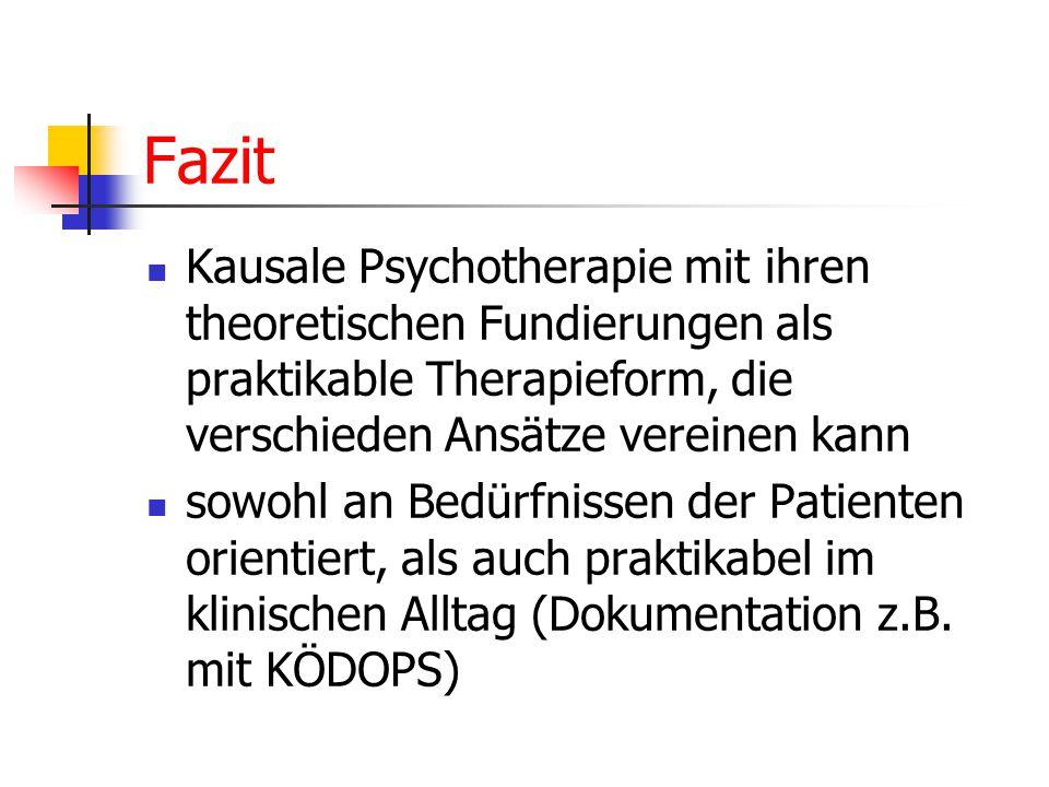 Fazit Kausale Psychotherapie mit ihren theoretischen Fundierungen als praktikable Therapieform, die verschieden Ansätze vereinen kann sowohl an Bedürfnissen der Patienten orientiert, als auch praktikabel im klinischen Alltag (Dokumentation z.B.