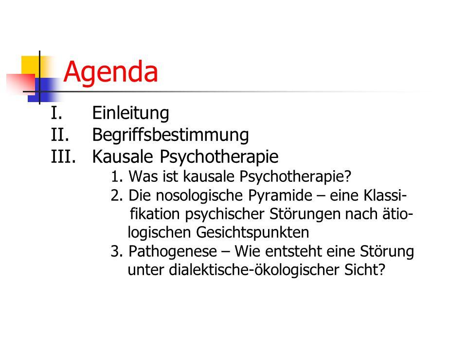 Agenda I.Einleitung II. Begriffsbestimmung III.Kausale Psychotherapie 1. Was ist kausale Psychotherapie? 2. Die nosologische Pyramide – eine Klassi- f