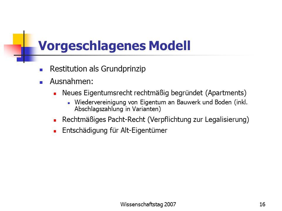 Wissenschaftstag 200716 Vorgeschlagenes Modell Restitution als Grundprinzip Ausnahmen: Neues Eigentumsrecht rechtmäßig begründet (Apartments) Wiederve