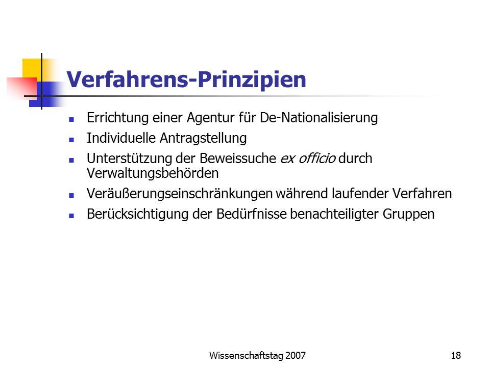 Wissenschaftstag 200718 Verfahrens-Prinzipien Errichtung einer Agentur für De-Nationalisierung Individuelle Antragstellung Unterstützung der Beweissuc