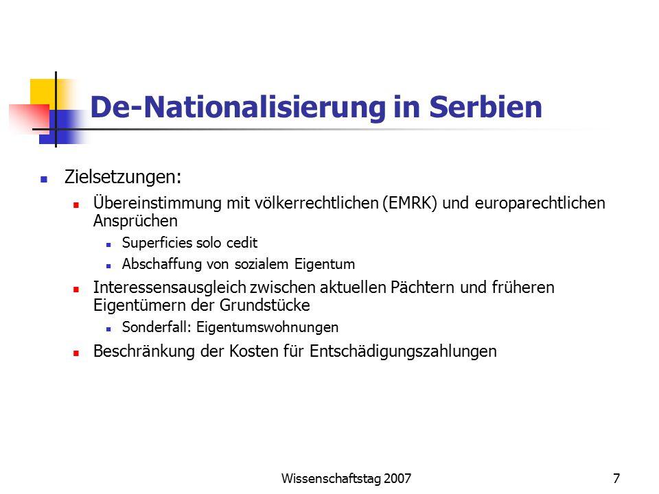 Wissenschaftstag 20077 De-Nationalisierung in Serbien Zielsetzungen: Übereinstimmung mit völkerrechtlichen (EMRK) und europarechtlichen Ansprüchen Sup