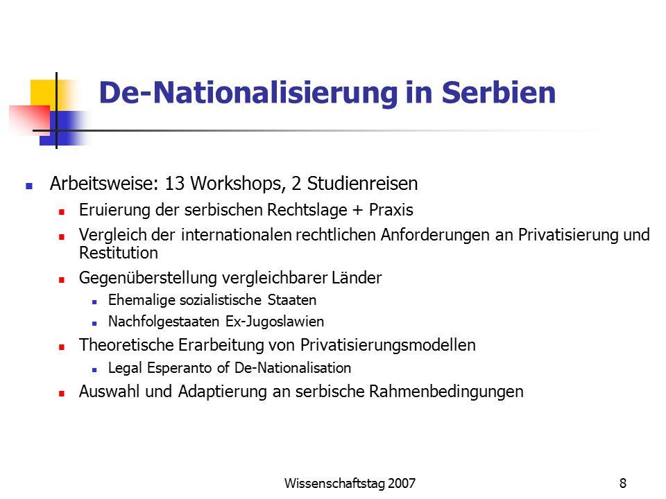 Wissenschaftstag 20078 De-Nationalisierung in Serbien Arbeitsweise: 13 Workshops, 2 Studienreisen Eruierung der serbischen Rechtslage + Praxis Verglei