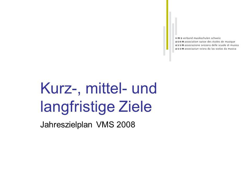 Kurz-, mittel- und langfristige Ziele Jahreszielplan VMS 2008