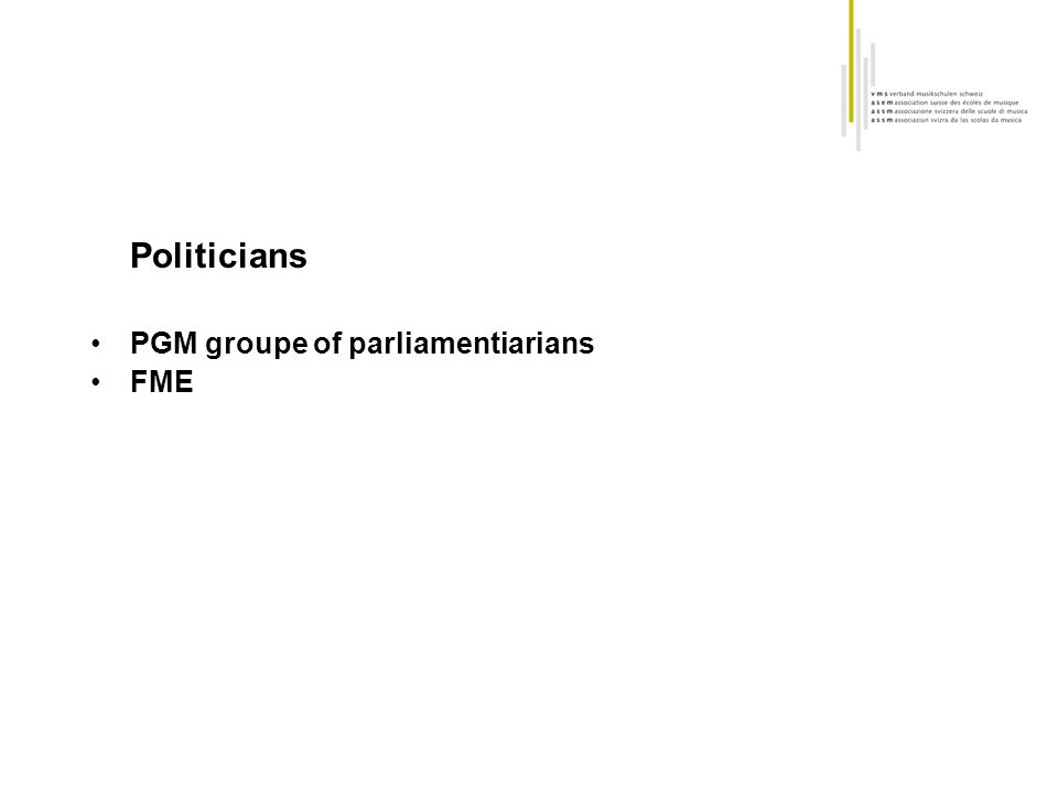 Politicians PGM groupe of parliamentiarians FME
