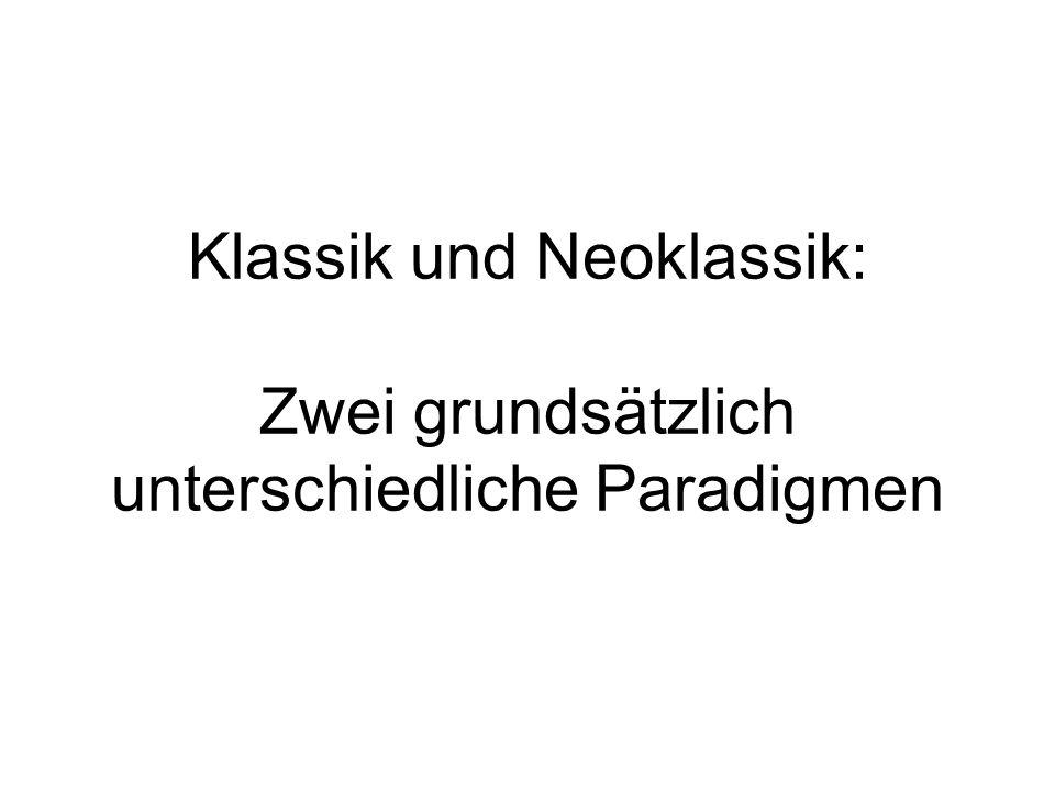 Klassik und Neoklassik: Zwei grundsätzlich unterschiedliche Paradigmen