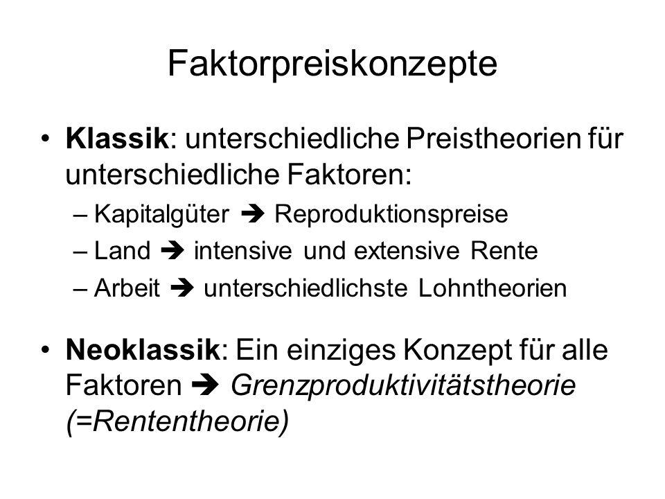 Faktorpreiskonzepte Klassik: unterschiedliche Preistheorien für unterschiedliche Faktoren: –Kapitalgüter  Reproduktionspreise –Land  intensive und e